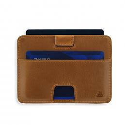 Korthållare i brunt skinn RFID säker