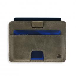 Korthållare i grått skinn RFID säker